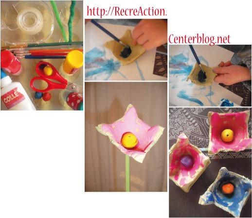 fleurs r alis es avec une bo te d 39 oeuf. Black Bedroom Furniture Sets. Home Design Ideas