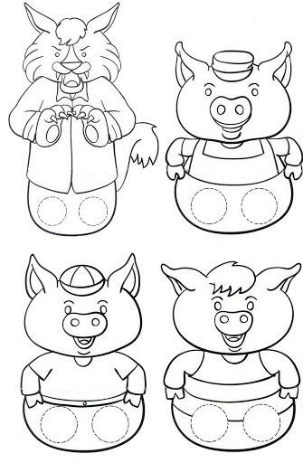 marionnettes pour les trois petits cochons les 3 petits cochons maternelle. Black Bedroom Furniture Sets. Home Design Ideas